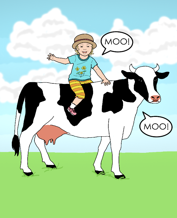 Illustration for cover of The Cow Says Moo